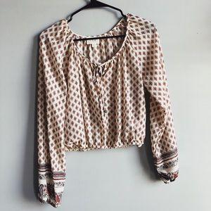 Boho Long-Sleeved Crop Top